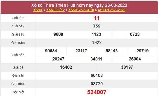 Dự đoán XSTTH 30/3/2020 - KQXS Thừa Thiên Huế thứ 2