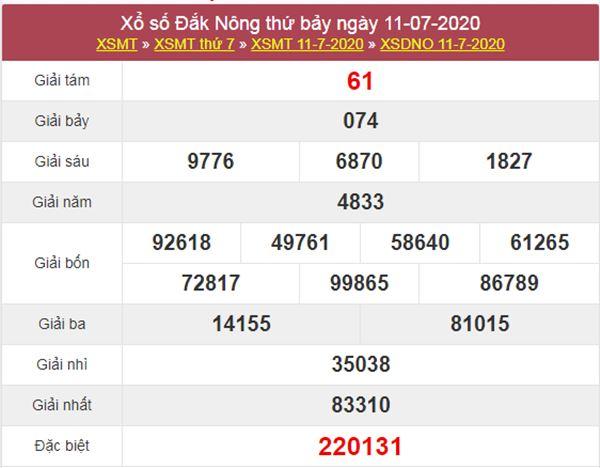Dự đoán XSDNO 18/7/2020 chốt KQXS Đắc Nông thứ 7